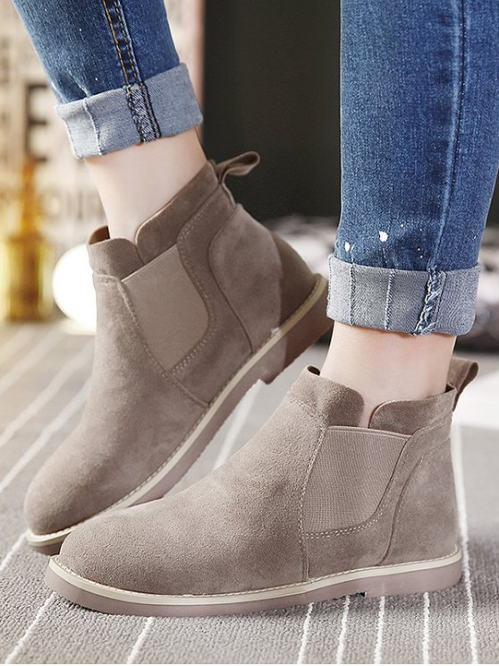 Flat Heel Elastic Band Suede Ankle Boots - CAMEL 39 Mobile