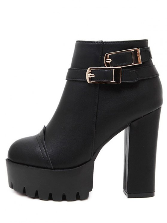 Chunky Heel Platform Double Buckles Ankle Boots - BLACK 37 Mobile