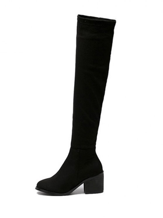 Flock Chunky Heel Thigh Boots - BLACK 39 Mobile