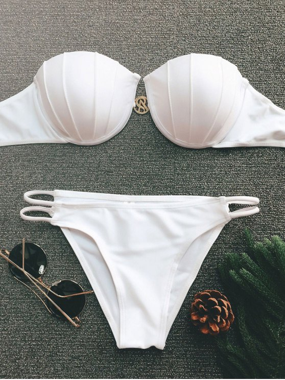 shops Underwire Push Up Bikini Set - WHITE M