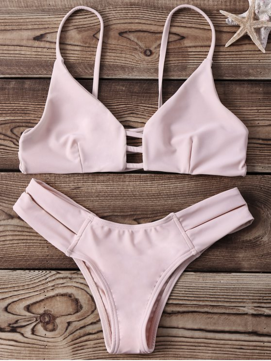 Strappy Banded Bikini Set - YELLOWISH PINK S Mobile
