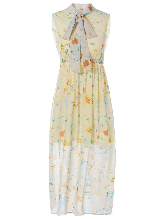 Impreso elástico de la cintura del vestido maxi - Amarillo L
