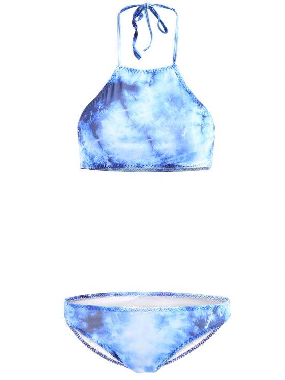High-Neck Tie Dyed Bikini Set - BLUE S Mobile