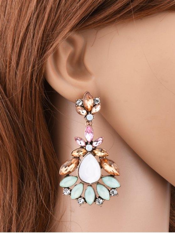 Faux Gem Water Drop Leaf Earrings - COLORMIX  Mobile