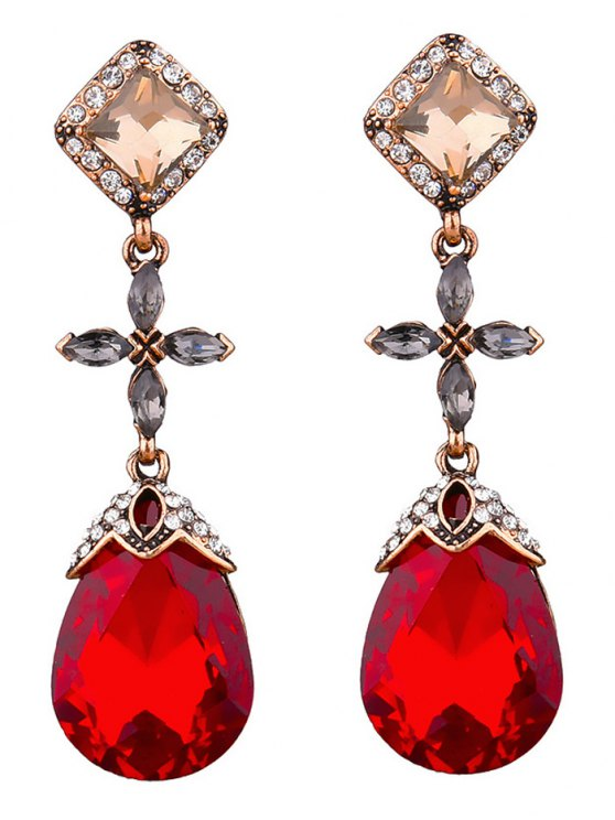 ladies Rhinestone Geometric Cross Water Drop Earrings - RED