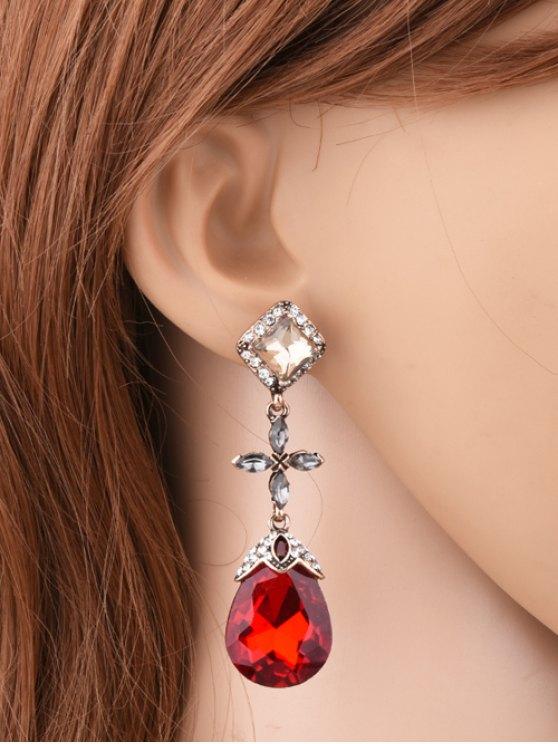 Rhinestone Geometric Cross Water Drop Earrings - RED  Mobile