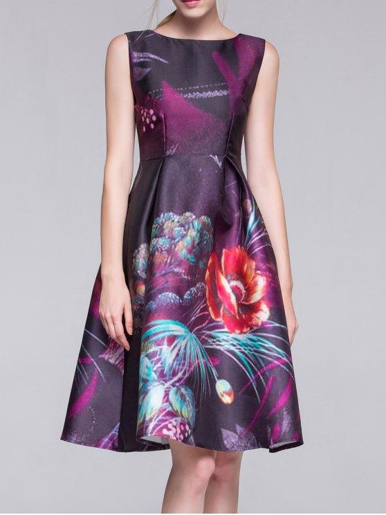Sin mangas de una línea de vestidos de Midi - Púrpura M