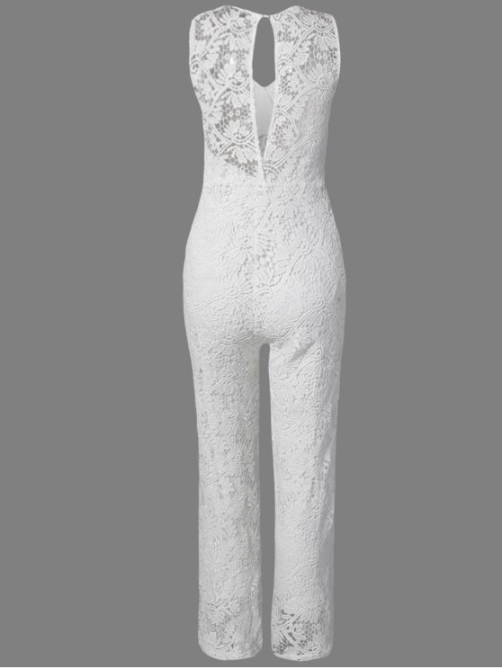 Solid Color Plunging Neck Sleeveless Lace Jumpsuit - WHITE L Mobile