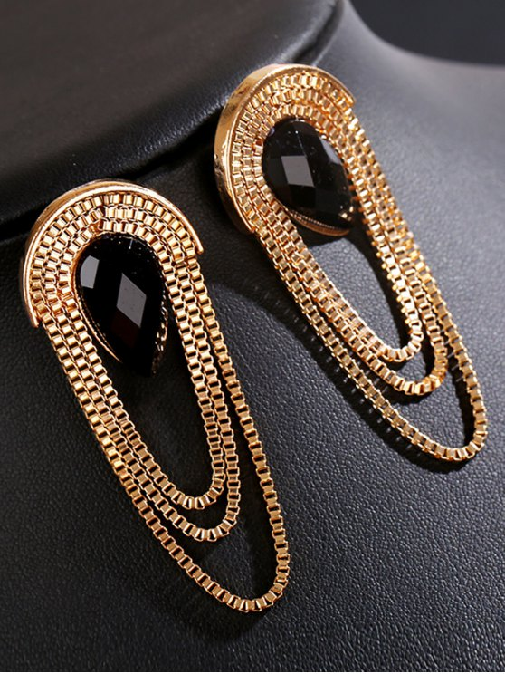 Faux Gem Drop Tassel Chains Earrings - BLACK  Mobile