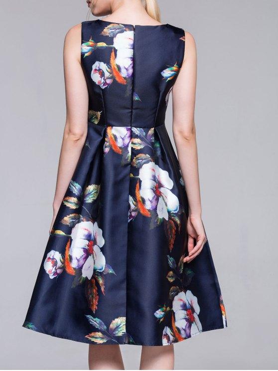 Flared Vintage Dress - PURPLISH BLUE M Mobile