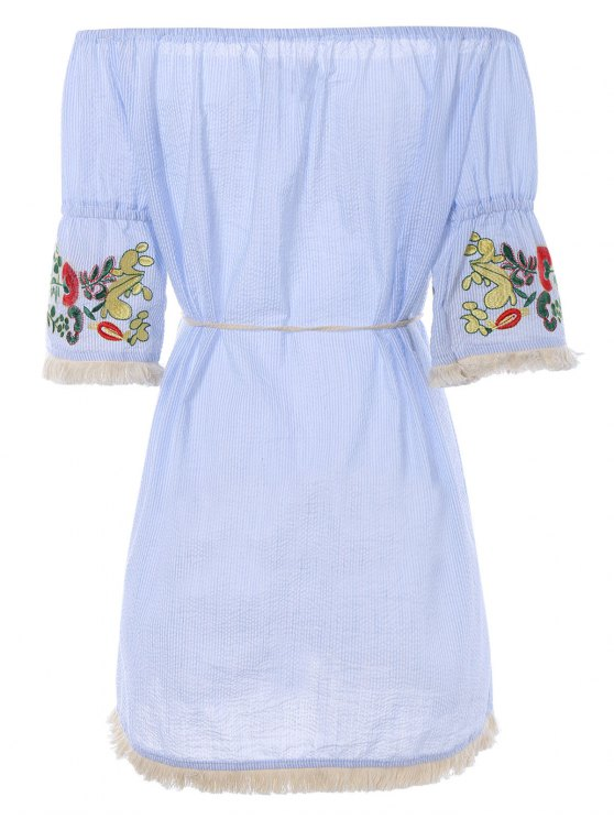 Off The Shoulder Striped Embroidered Mini Dress - LIGHT BLUE L Mobile