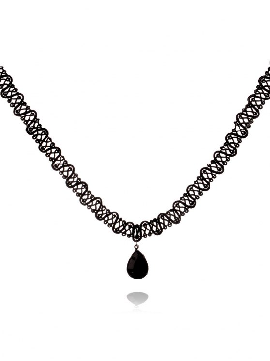 hot Teardrop Crochet Choker - BLACK