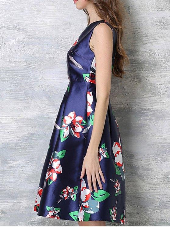 Sleeveless Printed Midi Dress - BLUE S Mobile
