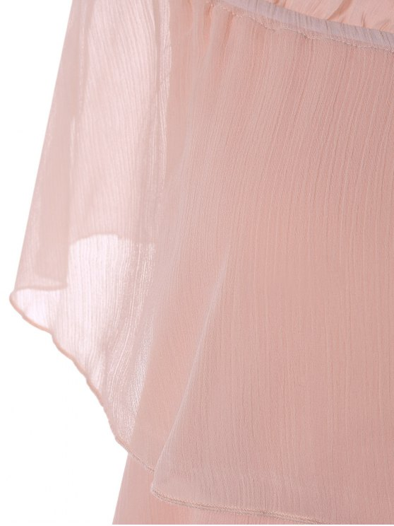 Ruffles Off The Shoulder Chiffon Dress - PINK L Mobile