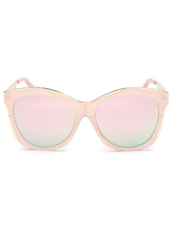 Double Rims Mirrored Irregular Sunglasses - PINK  Mobile