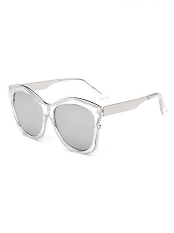 Double Rims Mirrored Irregular Sunglasses - SILVER  Mobile
