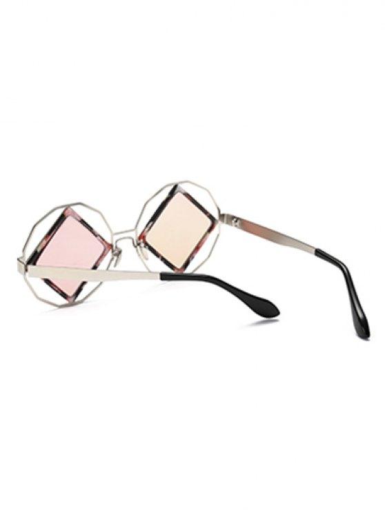 Rhombus Mirrored Irregular Sunglasses - PINK  Mobile