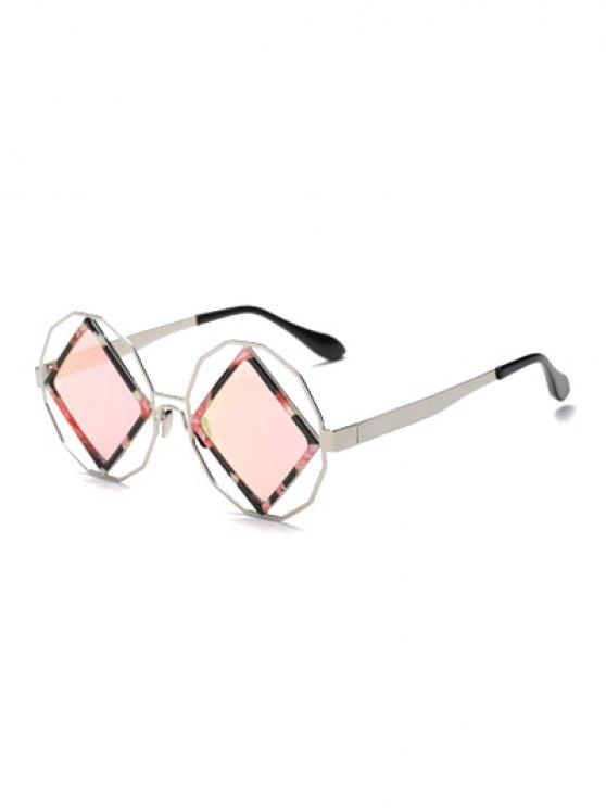 shop Rhombus Mirrored Irregular Sunglasses - PINK