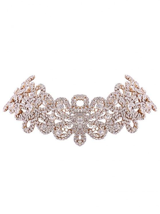 Collar de la flor rhinestoned - Dorado