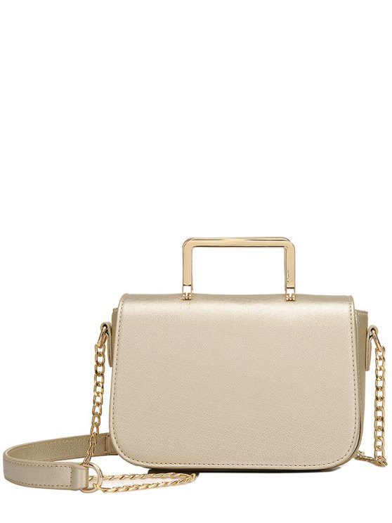 women's Magnetic Closure Metal Chain Crossbody Bag - LIGHT GOLD