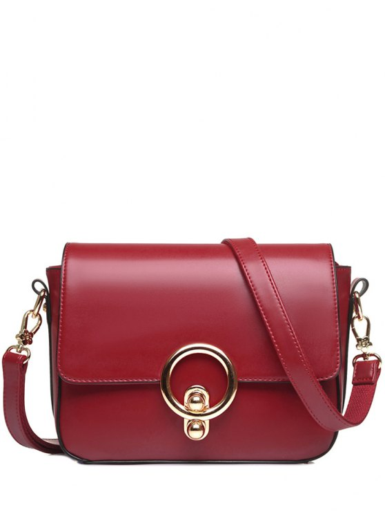 ladies PU Leather Stitching Metal Ring Crossbody Bag - WINE RED
