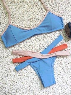 Tricolor Banded Bikini Set - Blue S