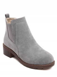 Flock Round Toe Elastic Band Ankle Boots - Gray 37