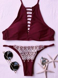 Lace Spliced High Neck Padded Bikini Set - Red S