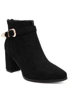 Buckle Zipper Flock Ankle Boots - Black 39