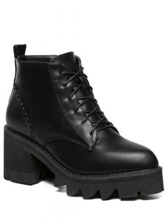Stitching Platform Tie Up Ankle Boots - Black 39