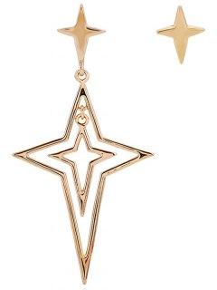 Asymmetric Hollow Out Star Drop Earrings - Golden