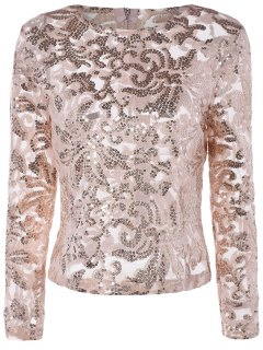 See-Through Sequined Jewel Neck Long Sleeve Blouse - Pink 2xl