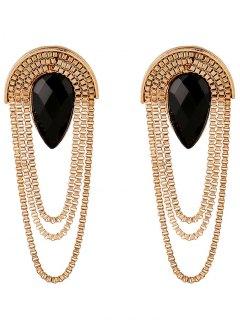 Faux Gem Drop Tassel Chains Earrings - Black