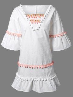 Pom Pom Embroidery V Neck 3/4 Sleeve Dress - White Xl