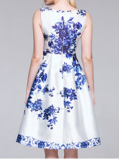 unique Flared Porcelain Dress - BLUE AND WHITE M Mobile