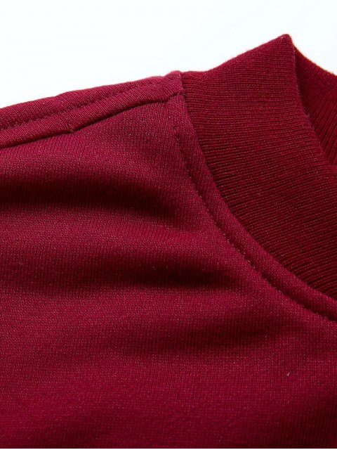 womens Zip Up Fitting Stand Neck Long Sleeve Jacket - WINE RED M Mobile