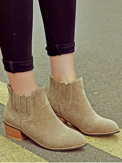trendy Chunky Heel Elastic Band Ankle Boots - CAMEL 37 Mobile
