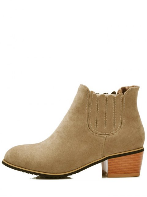 latest Chunky Heel Elastic Band Ankle Boots - CAMEL 39 Mobile