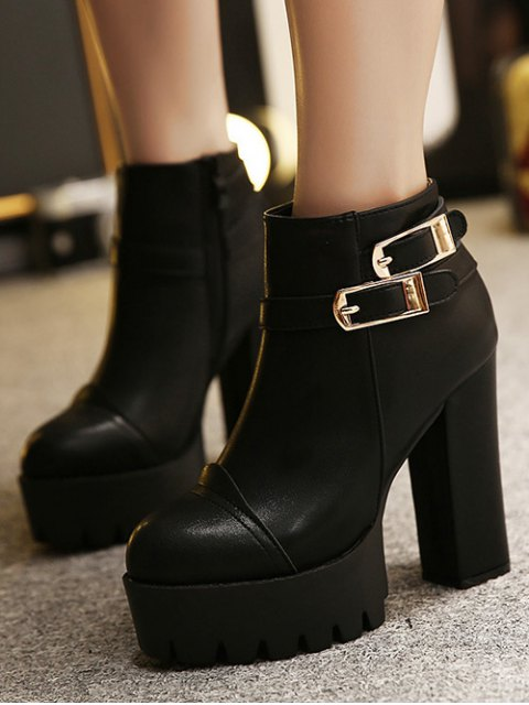 best Chunky Heel Platform Double Buckles Ankle Boots - BLACK 37 Mobile