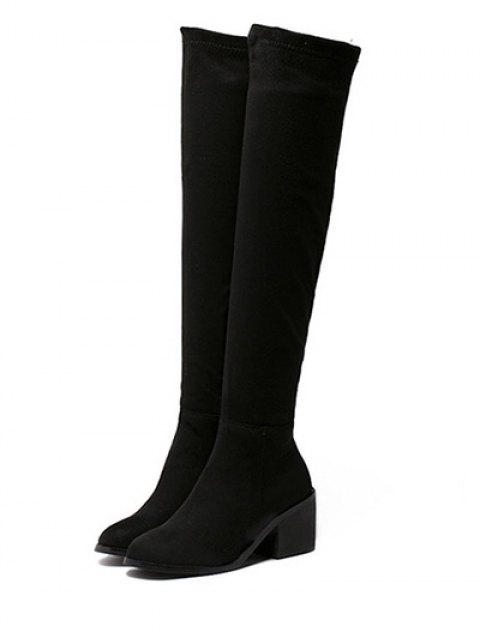 outfits Flock Chunky Heel Thigh Boots - BLACK 38 Mobile