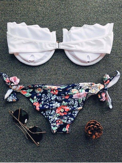 affordable Tiny Floral Print Strapless Padded Bikini Set - WHITE M Mobile