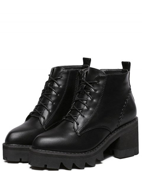 lady Stitching Platform Tie Up Ankle Boots - BLACK 39 Mobile