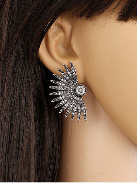 lady Alloy Rhinestone Fan-Shaped Drop Earrings - BLACK  Mobile
