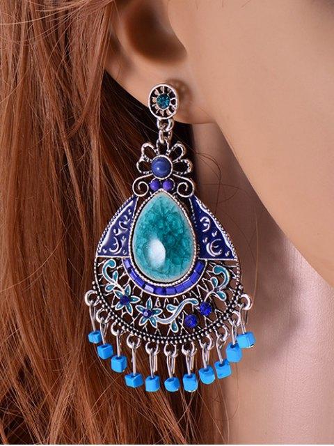 trendy Faux Gem Boho Jewelry Floral Earrings - BLUE  Mobile