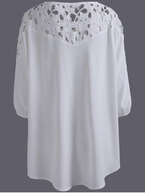 hot Plus Size Crochet Yoke Blouse - WHITE 4XL Mobile