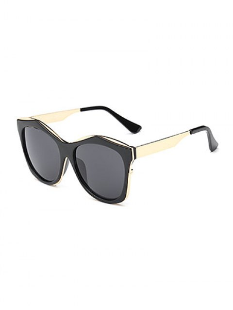 best Double Rims Irregular Sunglasses - BLACK  Mobile