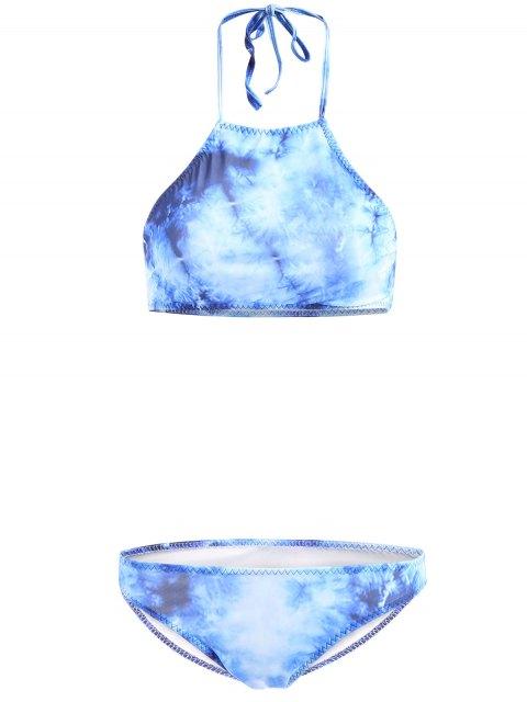 new High-Neck Tie Dyed Bikini Set - BLUE S Mobile