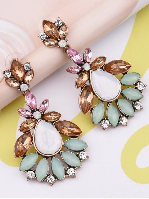 womens Faux Gem Water Drop Leaf Earrings - COLORMIX  Mobile