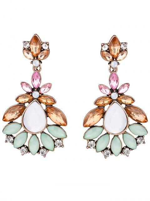womens Faux Gem Water Drop Leaf Earrings -   Mobile