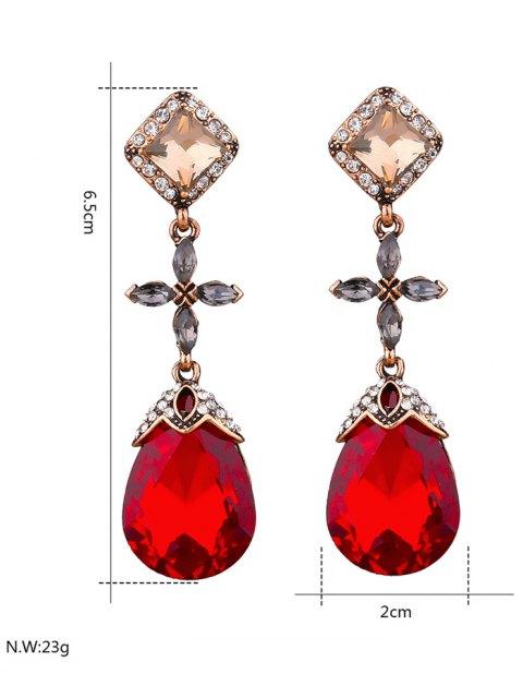 ladies Rhinestone Geometric Cross Water Drop Earrings - RED  Mobile